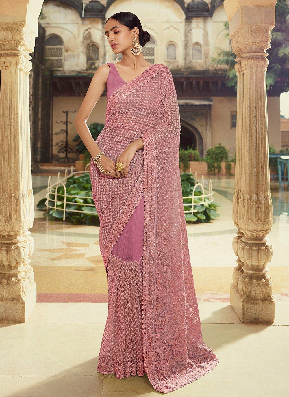 Purple Georgette Thread Trendy Saree