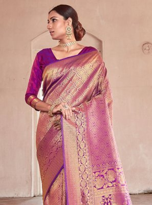 Purple Handloom silk Ceremonial Traditional Saree