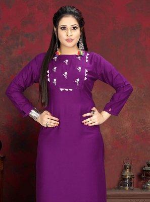 Purple Handwork Designer Kurti
