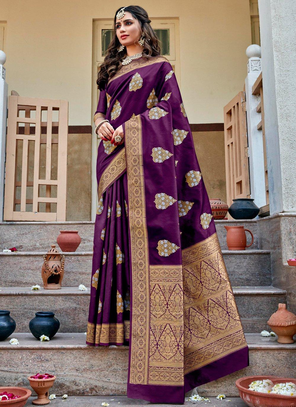 Purple Jacquard Silk Festival Traditional Saree