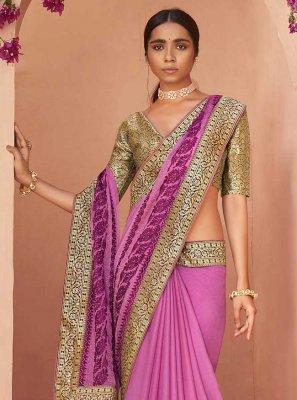 Purple Lace Faux Chiffon Classic Designer Saree