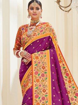 Purple Mehndi Banarasi Silk Traditional Designer Saree