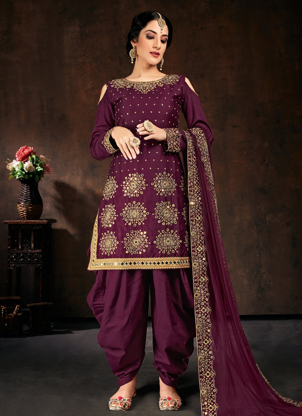 Purple Mirror Designer Patiala Suit