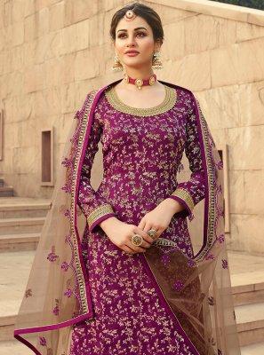 Purple Net Designer Palazzo Suit