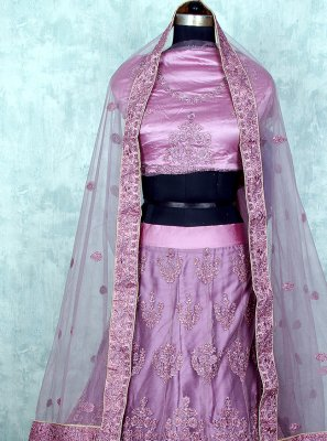 Purple Net Patch Border Lehenga Choli