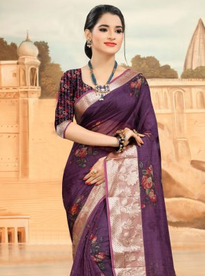 Purple Organza Printed Saree