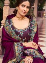Purple Patch Border Fancy Fabric Classic Saree
