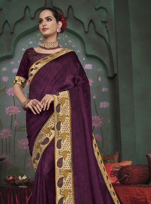 Purple Patch Border Fancy Fabric Classic Saree
