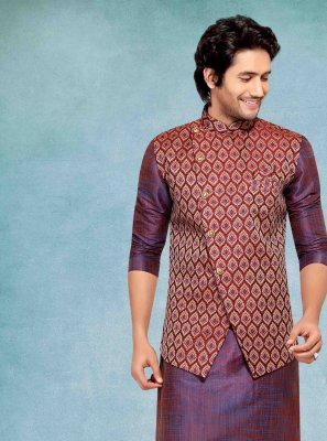 Purple Plain Ceremonial Kurta Payjama With Jacket