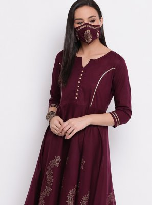 Purple Print Party Wear Kurti