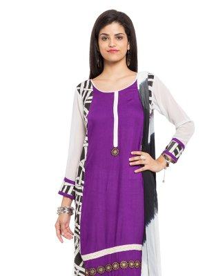 Purple Printed Mehndi Readymade Salwar Kameez