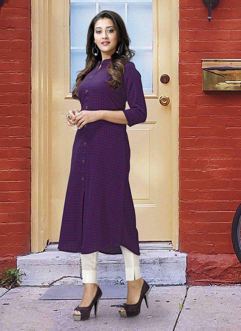 Purple Printed Poly Cotton Designer Kurti