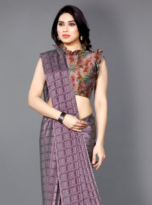 Purple Printed Printed Saree