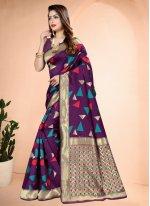 Purple Printed Traditional Designer Saree