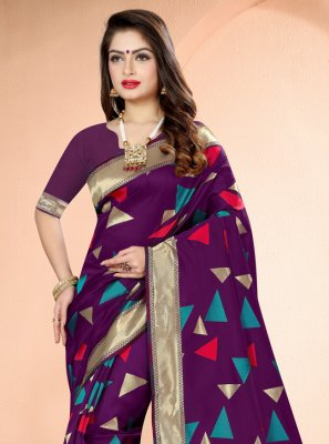 Purple Printed Traditional Designer Saree