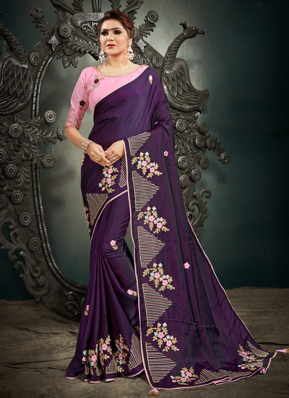 Purple Resham Silk Designer Traditional Saree