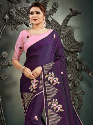 Purple Resham Silk Designer Traditional Saree