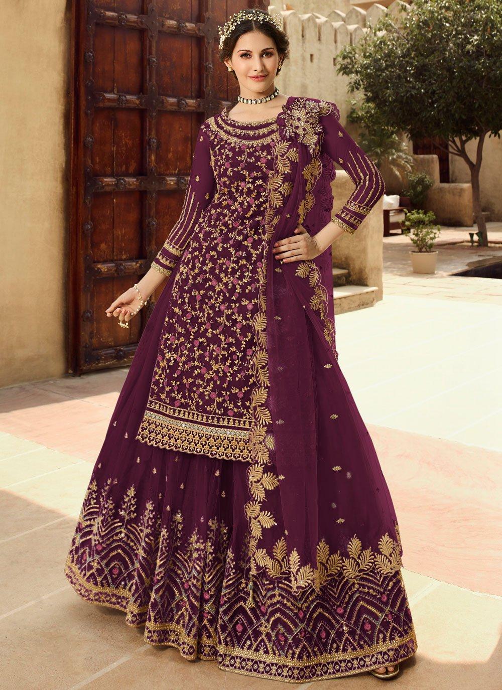 Purple Sangeet Net Long Choli Lehenga