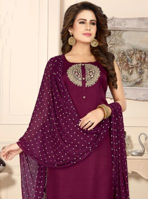 Purple Sangeet Readymade Suit