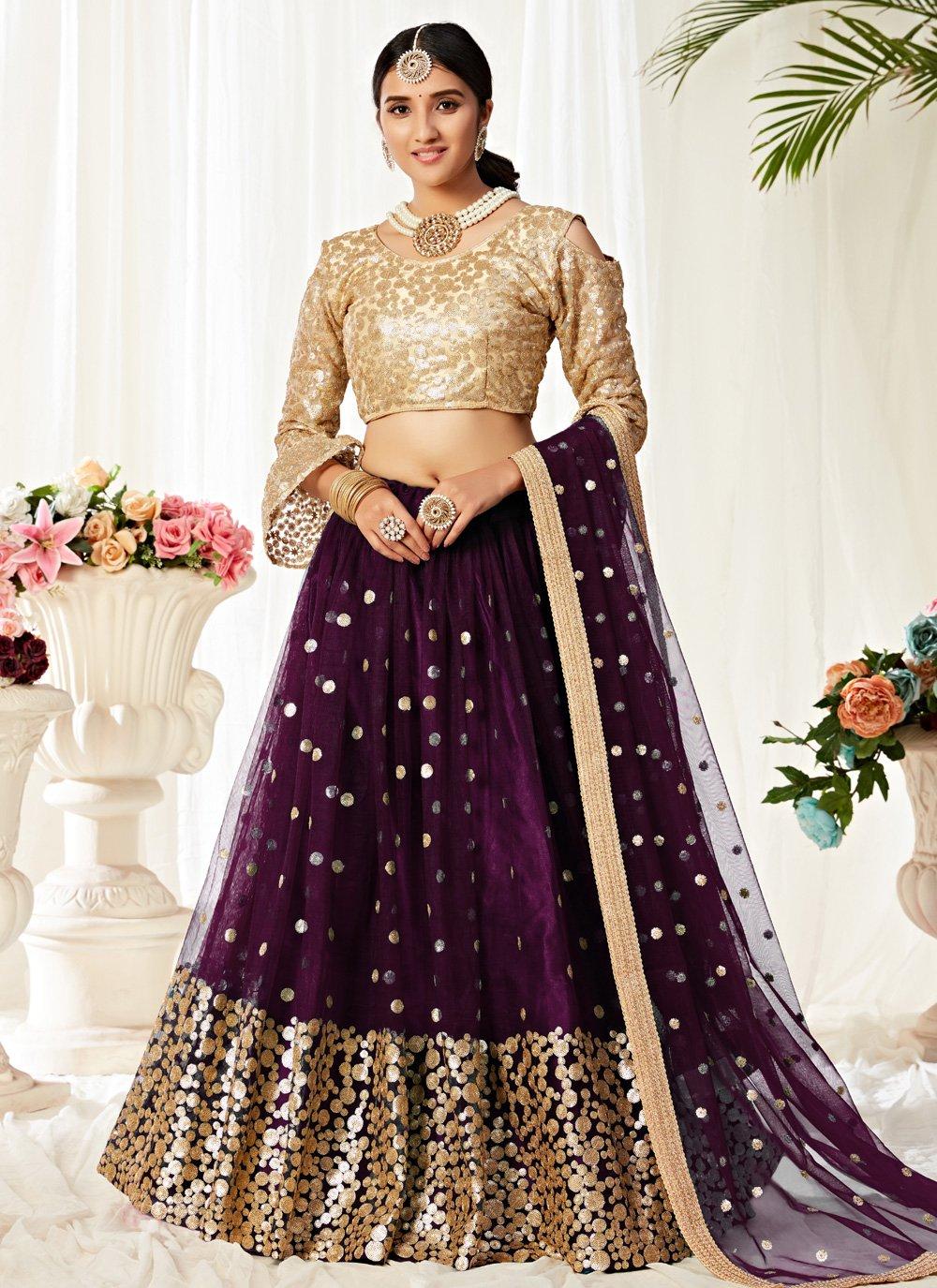 Purple Sequins Engagement Lehenga Choli