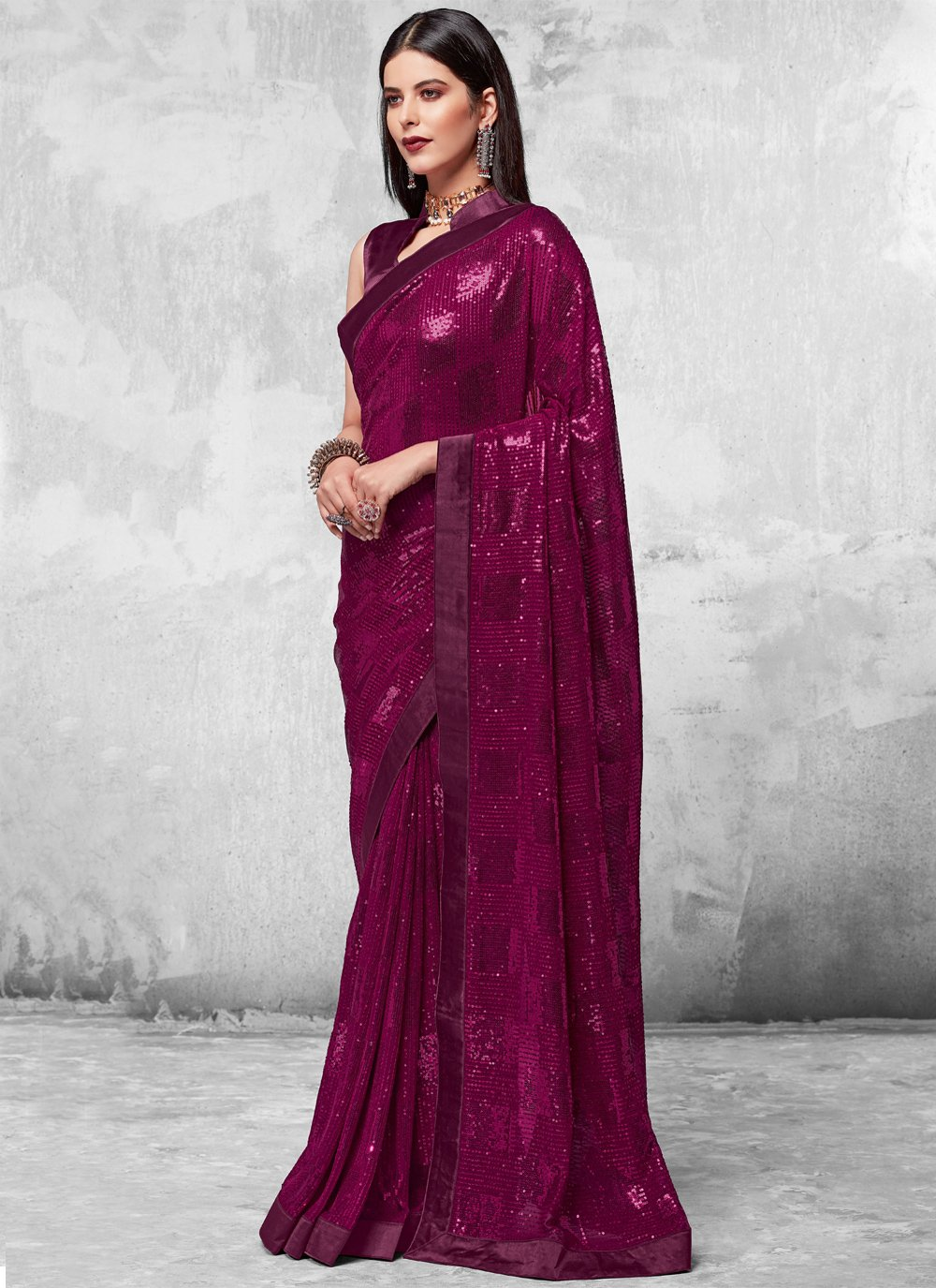 Purple Sequins Faux Georgette Designer Saree