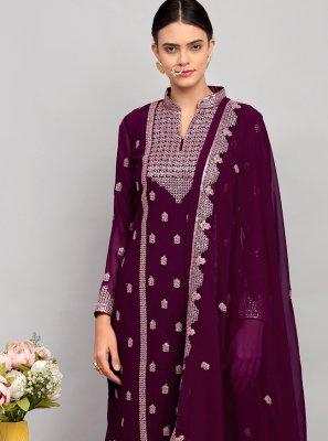 Purple Sequins Party Designer Palazzo Salwar Kameez