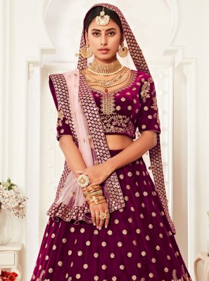Purple Sequins Trendy Lehenga Choli