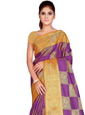 Purple Silk Ceremonial Traditional Saree