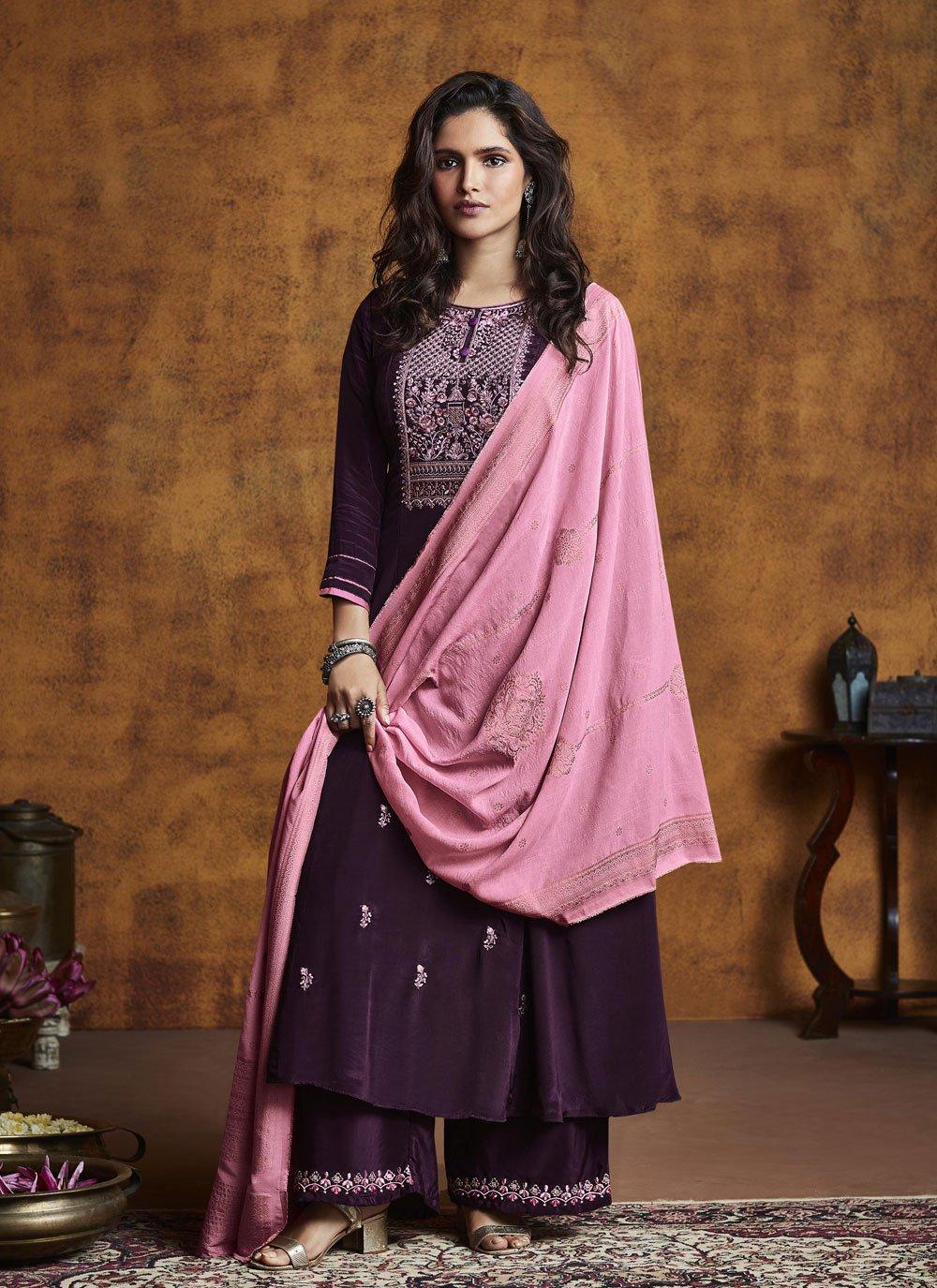 Purple Silk Festival Designer Palazzo Salwar Kameez