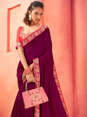 Purple Silk Party Classic Saree
