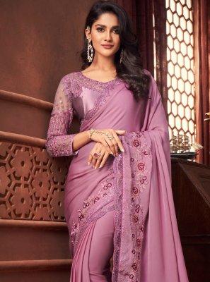 Purple Silk Patch Border Designer Saree