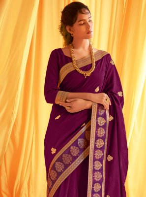 Purple Silk Traditional Designer Saree