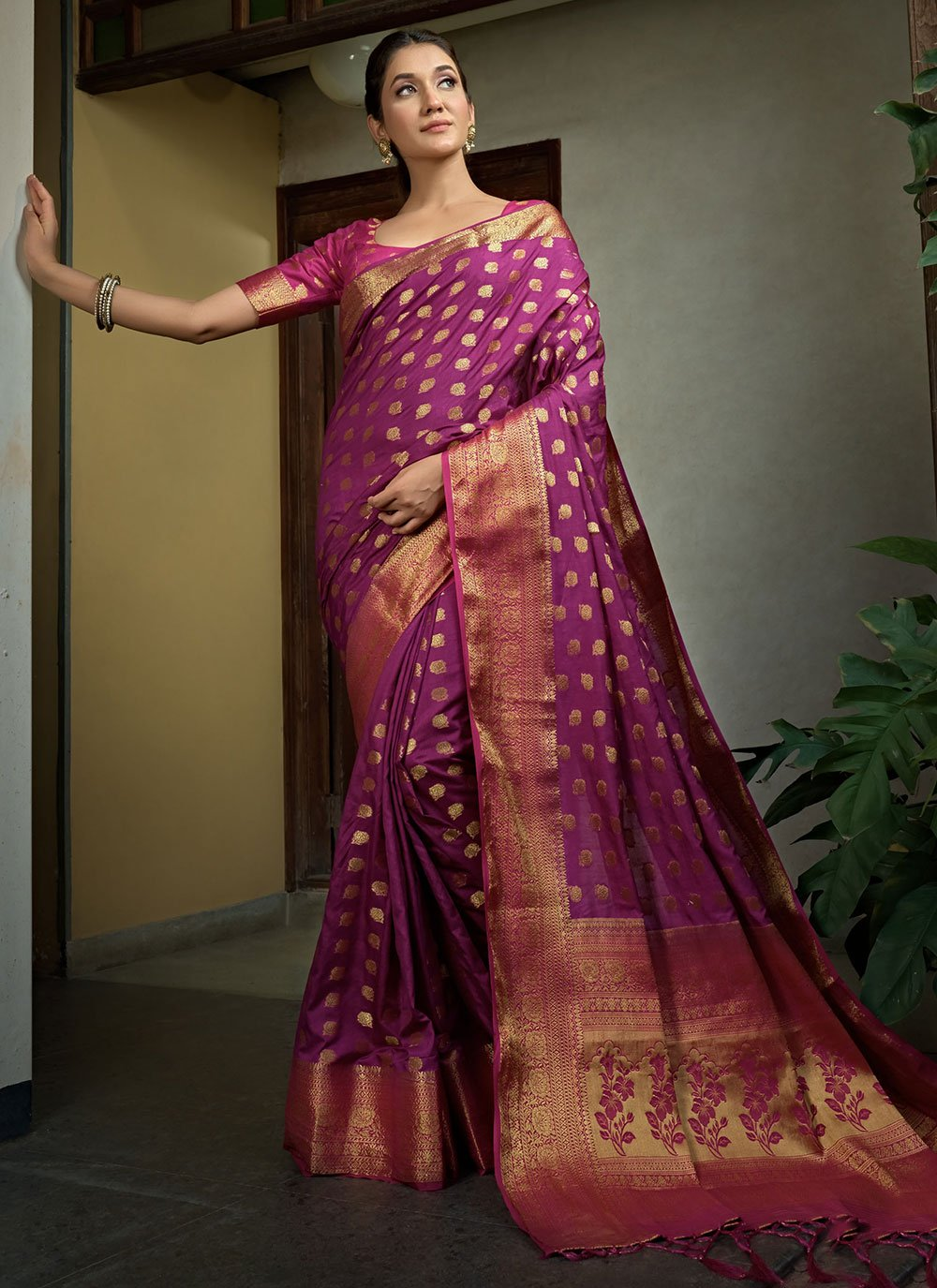 Purple Weaving Bollywood Saree