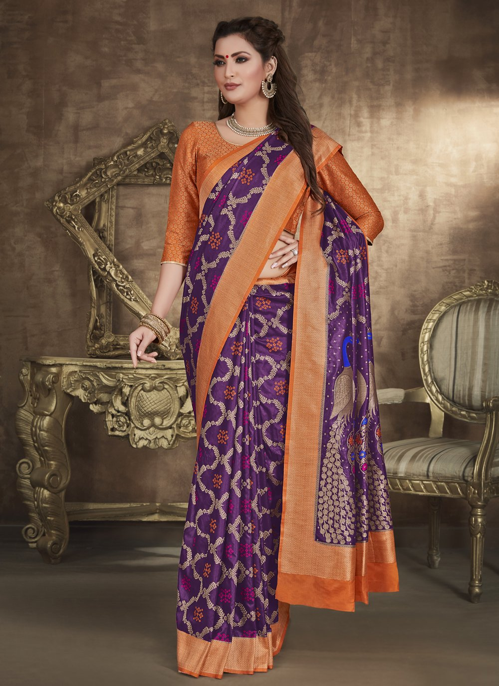 Purple Weaving Designer Traditional Saree