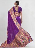 Purple Weaving Handloom silk Traditional Saree