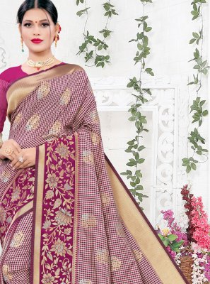 Purple Weaving Silk Designer Saree
