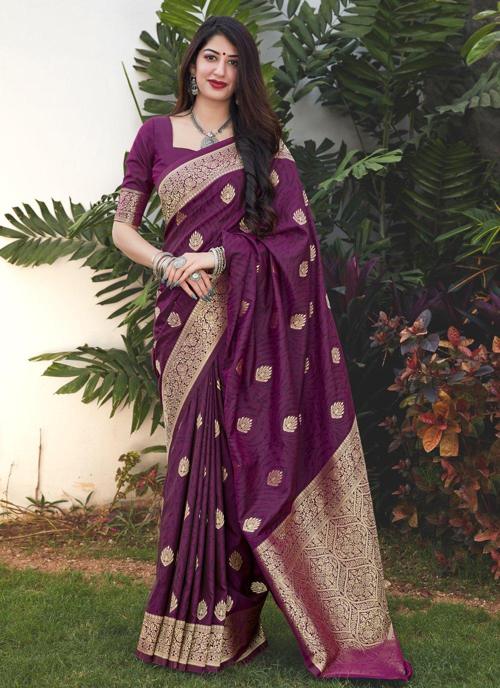 Purple Weaving Silk Traditional Saree