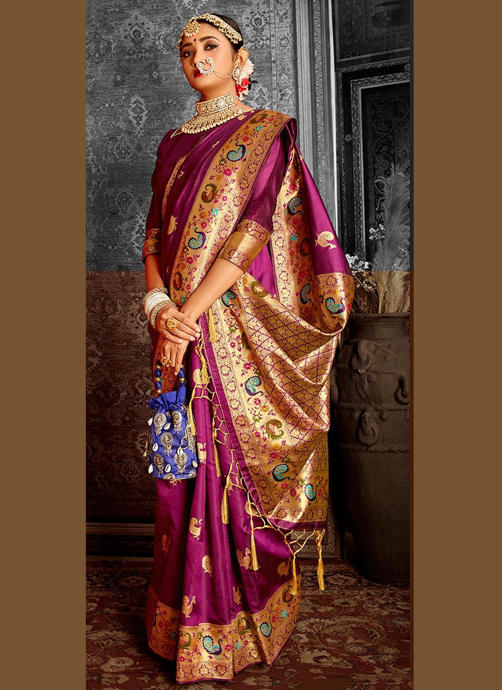 Purple Weaving Traditional Saree