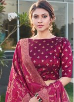 Purple Weaving Trendy Lehenga Choli