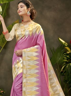 Purple Woven Silk Traditional Designer Saree