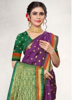 Purple Woven Traditional Designer Saree