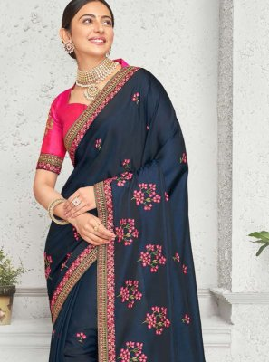 Rakul Preet Singh Art Silk Embroidered Navy Blue Designer Saree