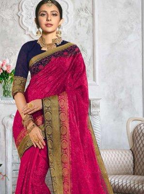 Rakul Preet Singh Auspicious Magenta Designer Traditional Saree