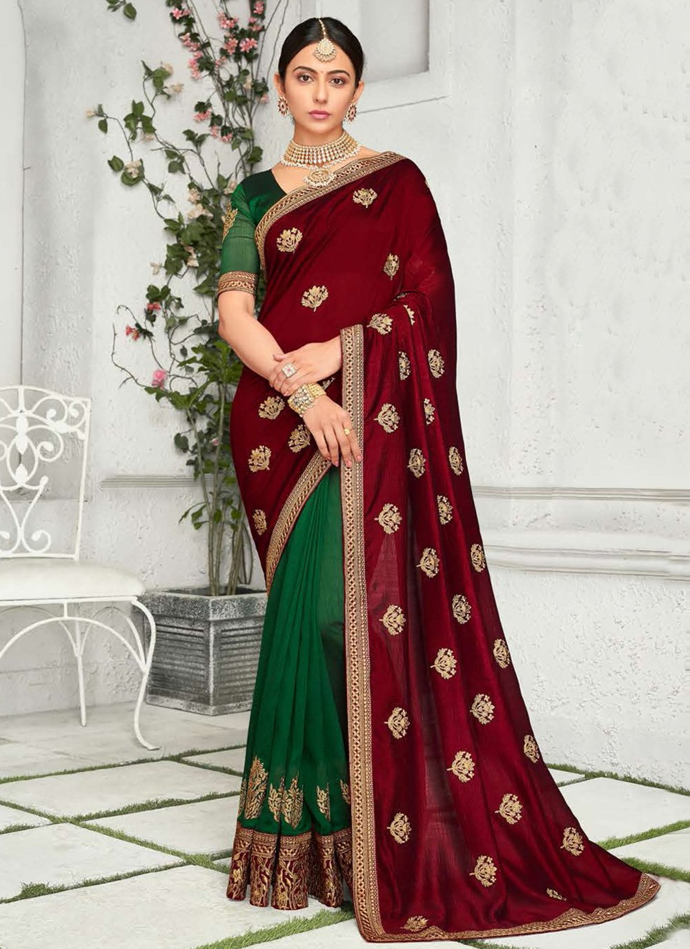 Rakul Preet Singh Chinon Embroidered Classic Saree