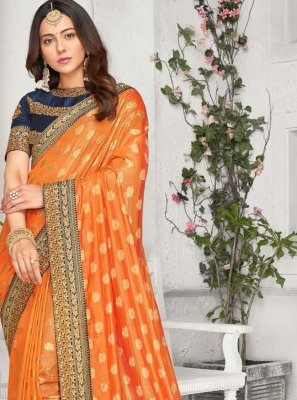 Rakul Preet Singh Embroidered Orange Traditional Saree