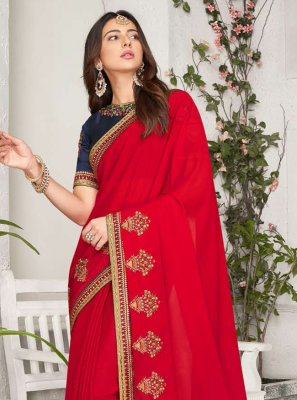 Rakul Preet Singh Georgette Embroidered Bollywood Saree