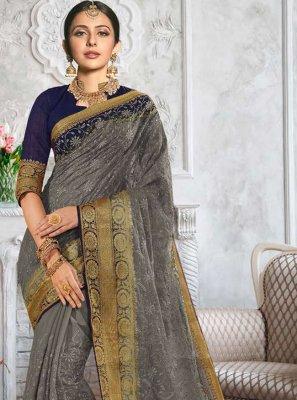 Rakul Preet Singh Grey Cotton Classic Designer Saree