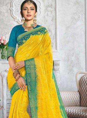 Rakul Preet Singh Yellow Classic Designer Saree