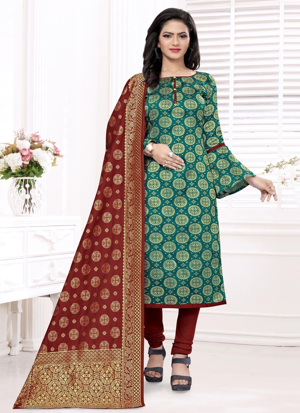 Rama Banarasi Silk Weaving Churidar Salwar Suit