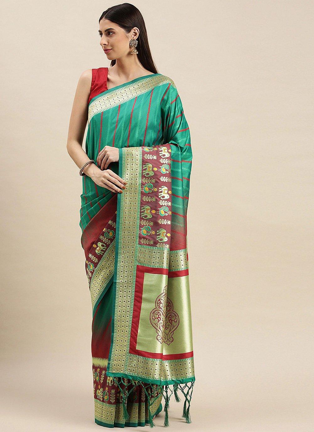 Rama Banarasi Silk Weaving Designer Traditional Saree